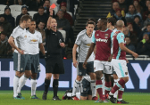 Mike Dean's red card transfers Man United's unlucky status to opponents West Ham.