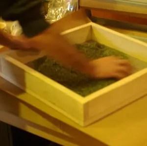 Stainless Steel and Cedar Herb Rubbing Screen, medium mesh