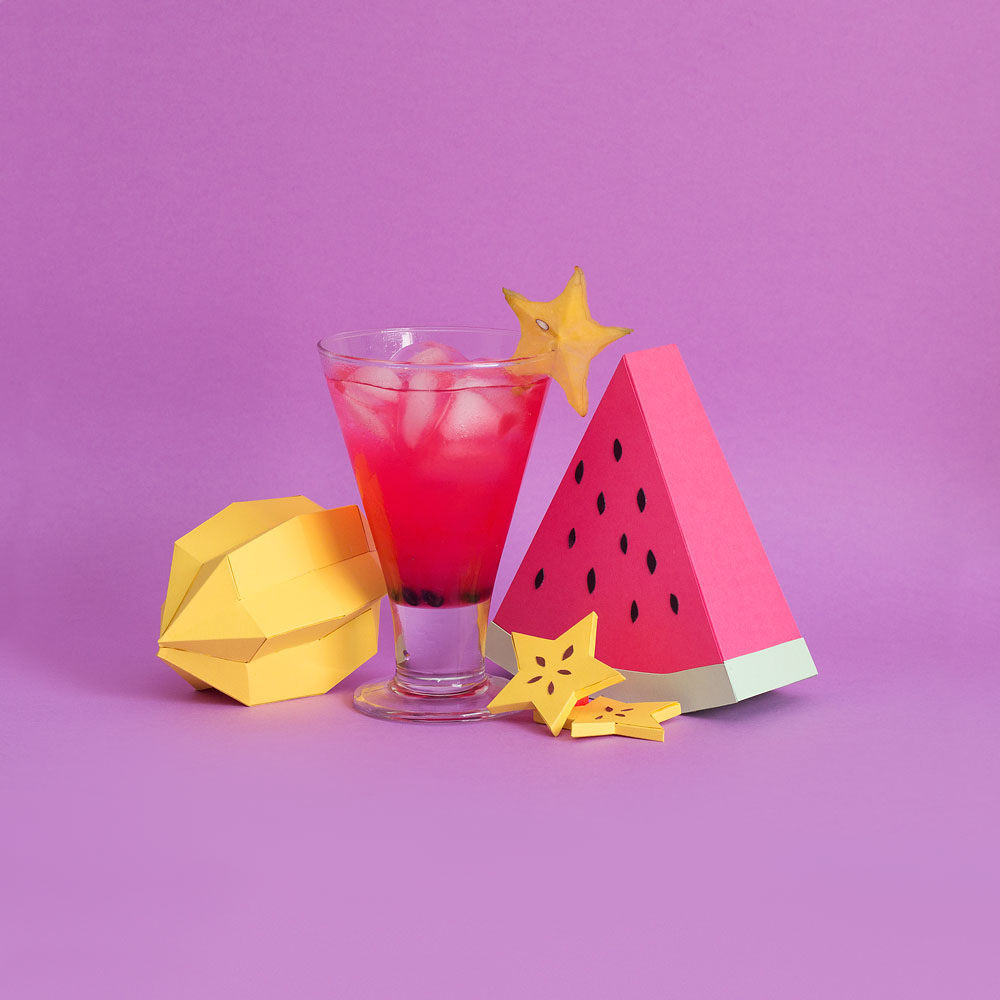 Fresh Drinks: Tropical Paper Craft Ingredients by Rendi Studio - Carambola + Watermelon
