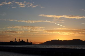 Sunset and a hint of Golden Gate Bridges