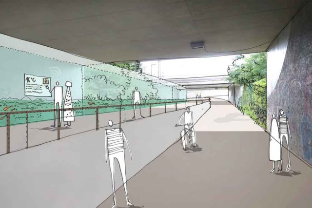 An der Bahnunterführung in Dobritz wollen die Planer den Geberbach hinter Glas fließen lassen. Visualisierung: Stadtplanungsamt LHW Dresden
