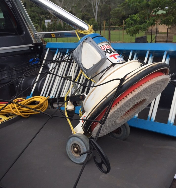 Floor-scrubber thingy - on the back of the truck, ready for action.