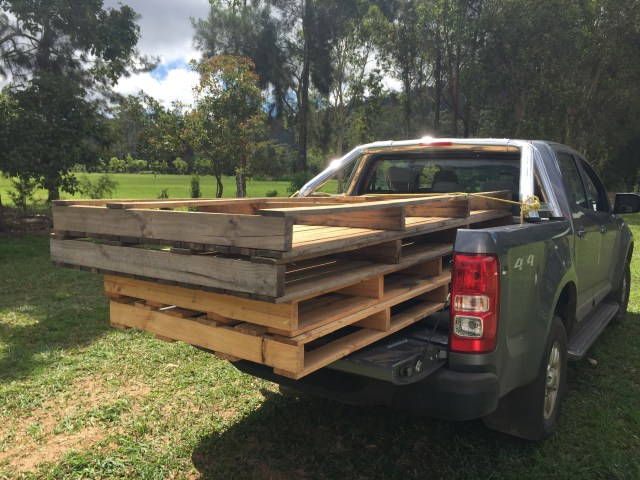 Zane - the super-tough truck - with our score of double-sized pallets on the back.