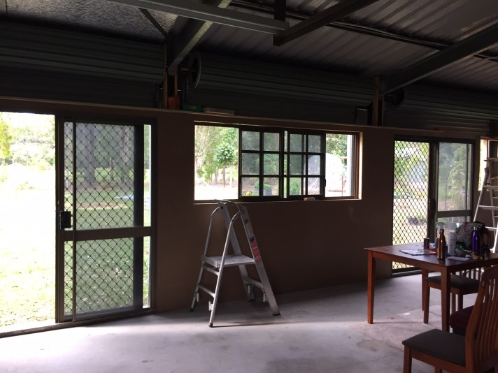 Looking from the Bedroom/Lounge end, out of our new doors & window :))