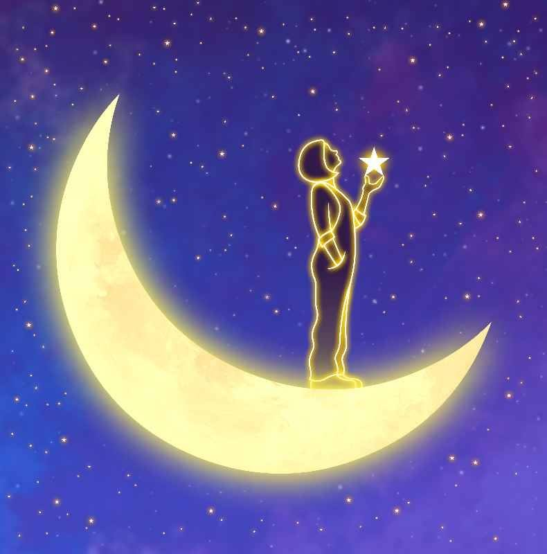 An illustration of a person holding a star standing on a crescent moon before a starry sky.
