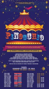 A flyer for Pinocchio at Gloucester Guildhall.
