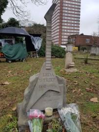 Filming Leda Strike's gravestone