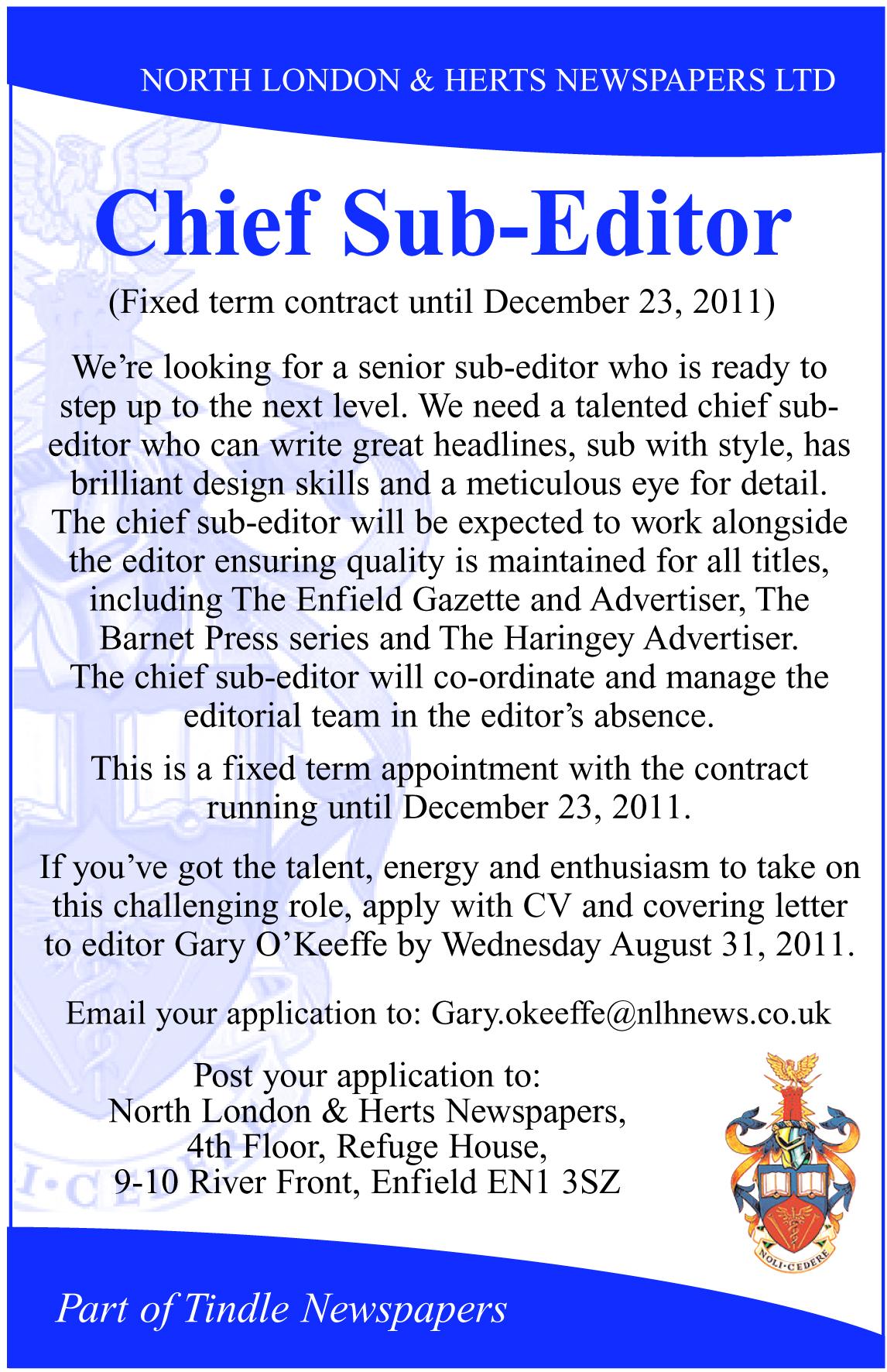 Two Job Adverts Sub Editor And Photographer Gazette