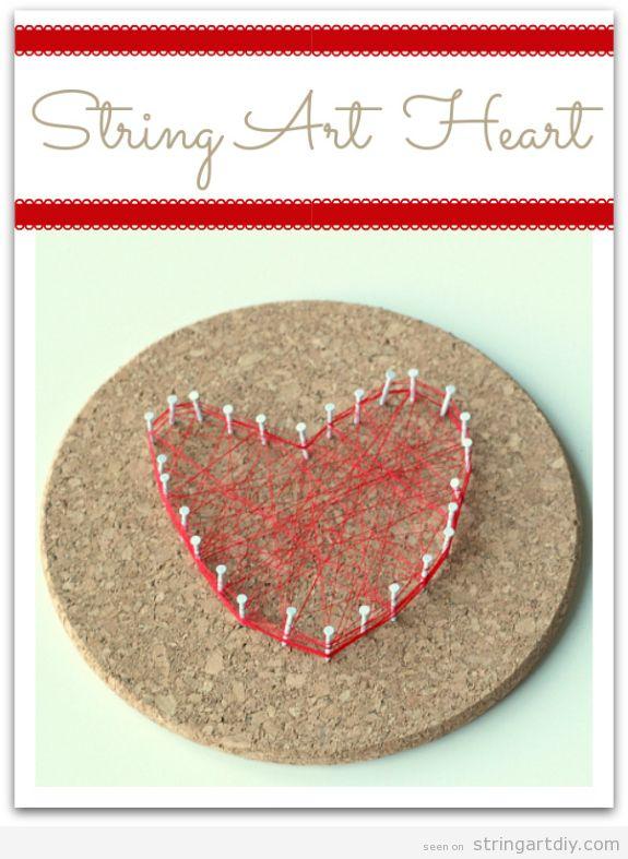 String Art Heart On A Cork Coaster Valentine S Crafts For Kids String Art Diy Free Patterns