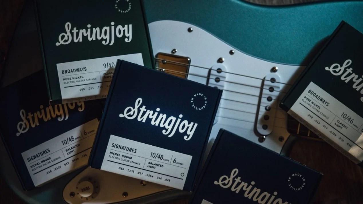 Stringjoy Strings in front of a Fender Stratocaster