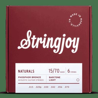 Stringjoy Naturals | Baritone Light Gauge (15-70) Phosphor Bronze Acoustic Guitar Strings