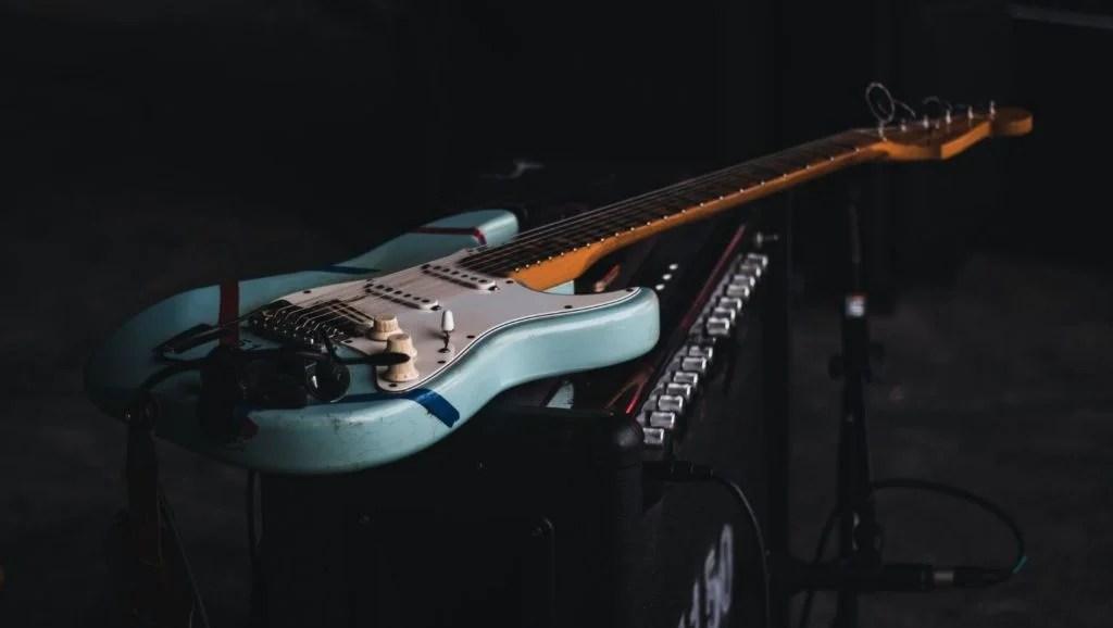 Fender Stratocaster on an amp