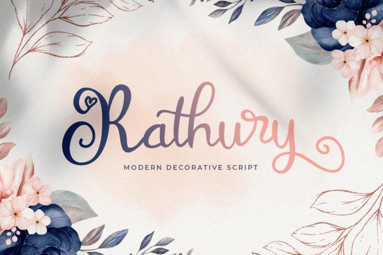 Preview image of Rathury – Modern Decorative Script Font