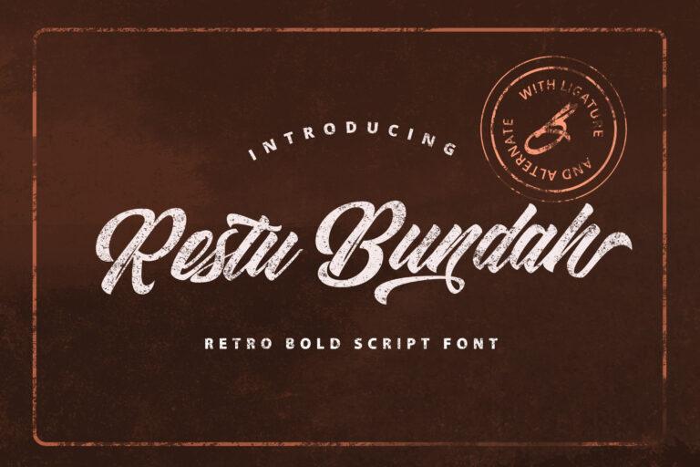 Preview image of Restu Bundah – Retro Bold Script Font