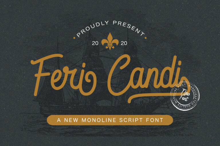 Preview image of Feri Candi – Monoline Script Font