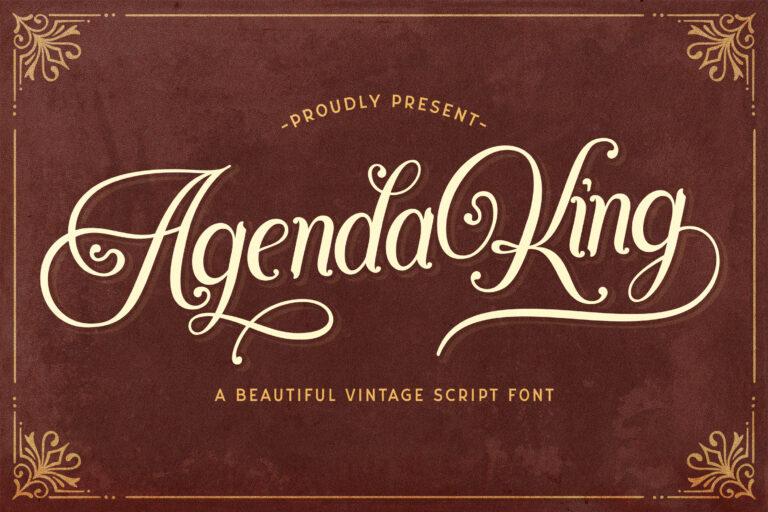 Preview image of Agenda King – Vintage Script Font