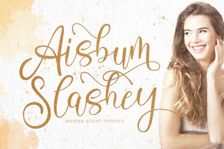 Preview image of Aisbum Slashey – Modern Script Font