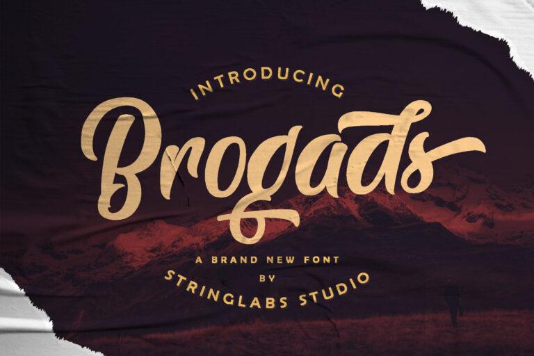 Preview image of Brogads – Bold Script Retro Font