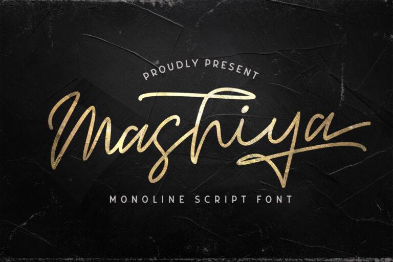 Preview image of Mashiya – Monoline Script Font
