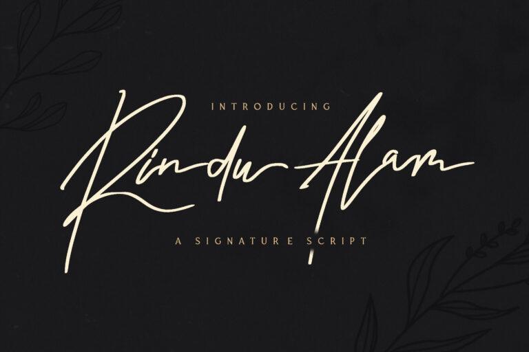 Preview image of Rindu Alam – Signature Script Font