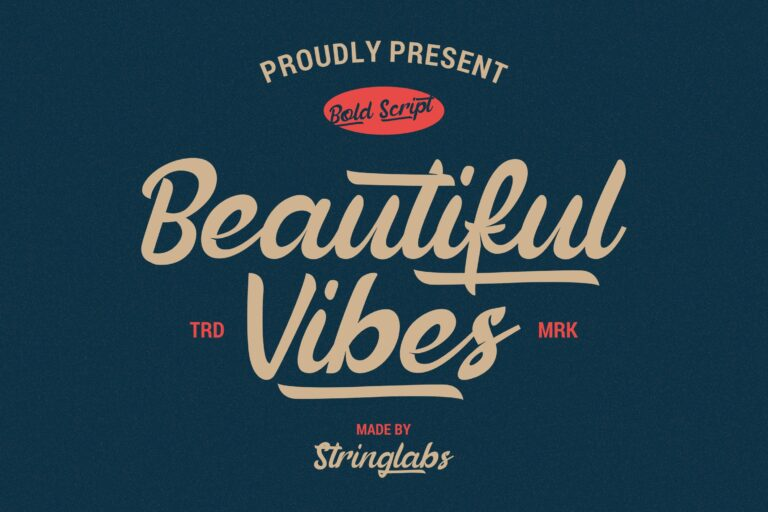 Preview image of Beautiful Vibes – Bold Script Vintage Retro Font
