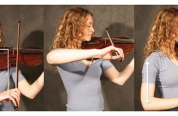 proper arm placement on violin for string crossing
