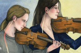 illustration of violin and viola chin rests