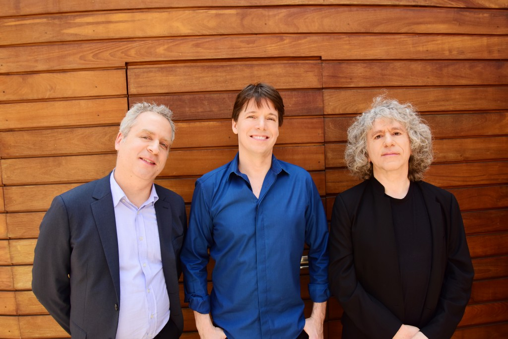 Joshua Bell, left, Jeremy Denk, and Steven Isserlis