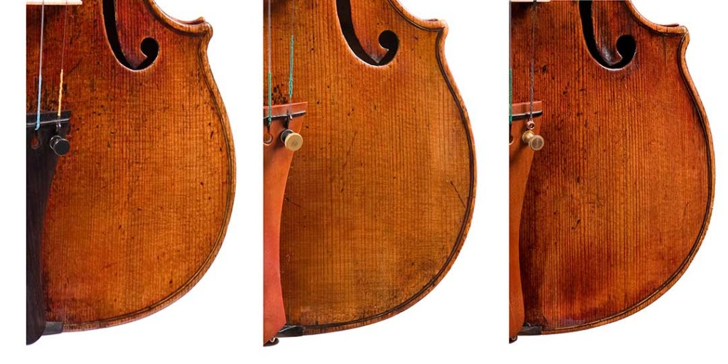 Ex. 5: The wear patterns of the mystery instrument (right) compared to those of the del Gesù violins