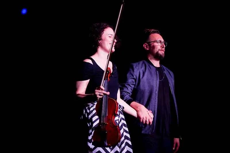 Rebecca Fischer and Anthony Hawley (right) onstage at HIFA 2017. Photo by HIFA MEDIA, Kudzai Chakaingesu