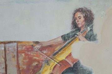 illustration of a woman playing cello