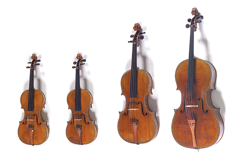 Antonio Stradivari's 'Spanish Court' quartet- 2 violins, a viola, and a cello- are housed at the Royal Palace of Madrid, Spain