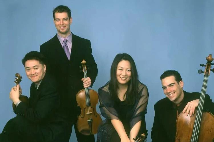 Miró Quartet in 2001: Daniel Ching, left, John Largess, Sandy Yamamoto, and Joshua Gindele