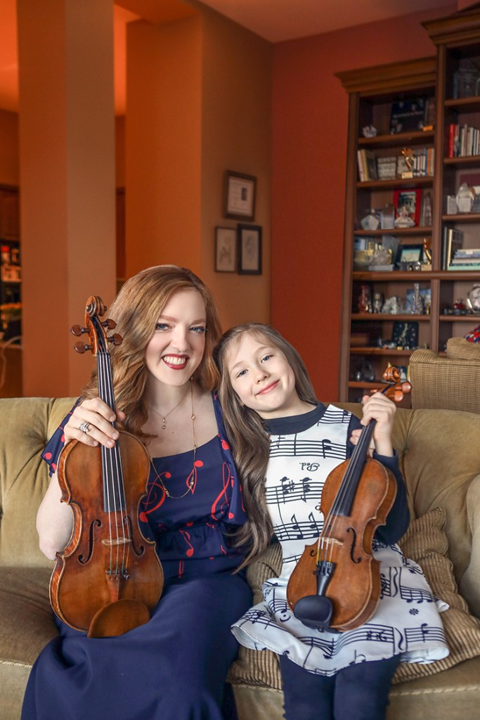 Rachel Barton Pine and daughter Sylvia, photo: Teresa Crawford