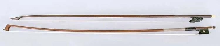 Violin bow, c. 1680 (top); viola/violin bow attributed to François Xavier Tourte, Paris, c. 1800–1810 (bottom)