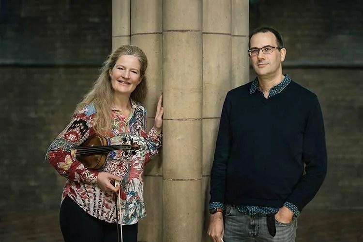 Violinist Rachel Podger standing with pianist Christopher Glynn