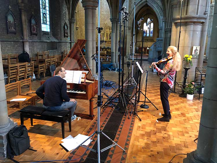 Rachel Podger and Christopher Glynn recording session in a church