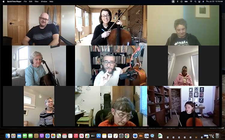 A cello choir meeting over Zoom during Covid-19