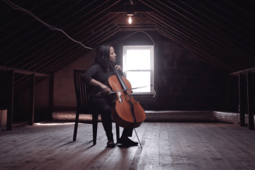 cellist Hannah Collins performs in a Strings Session