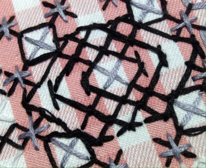 Depression Lace Sampler. Pearle Cotton and Embroidery Floss on Cotton Gingham. Renata Bursten, 08/16.