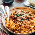 bolognese sauce with tagliatelle