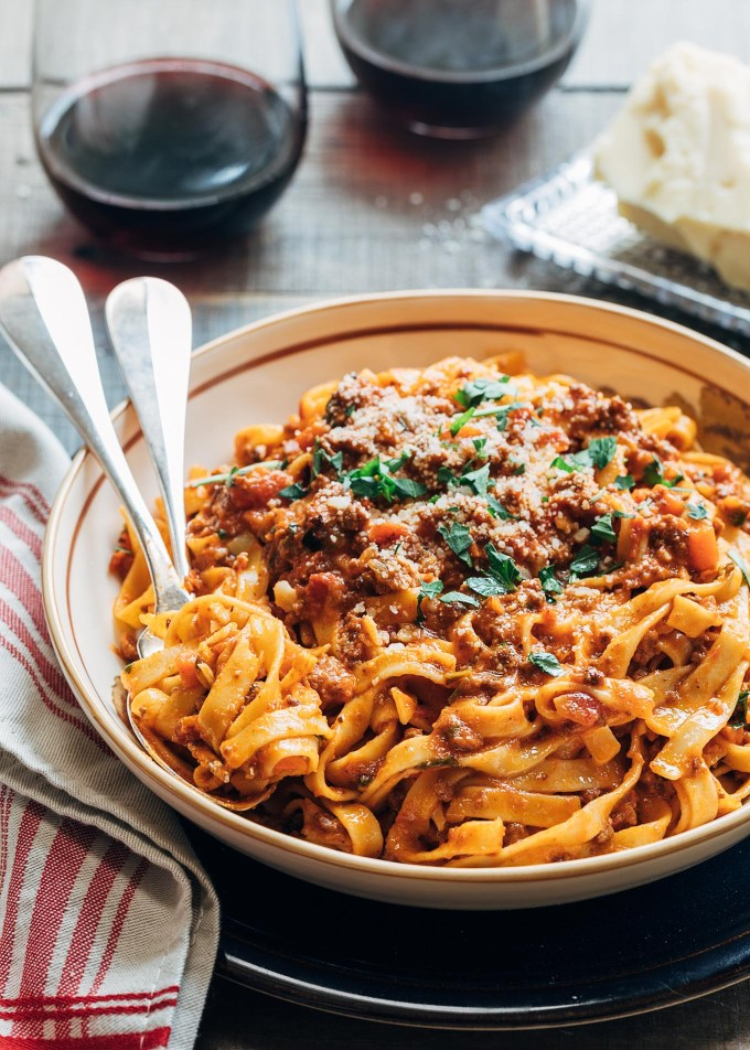 bolognese sauce recipe served with tagliatelle
