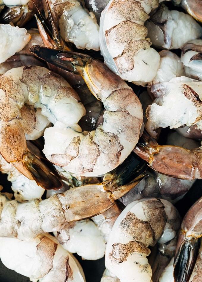 raw U15 shrimp for shrimp scampi