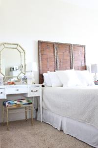 Vintage Rattan Headboard DIY Update   Stripes and Whimsy