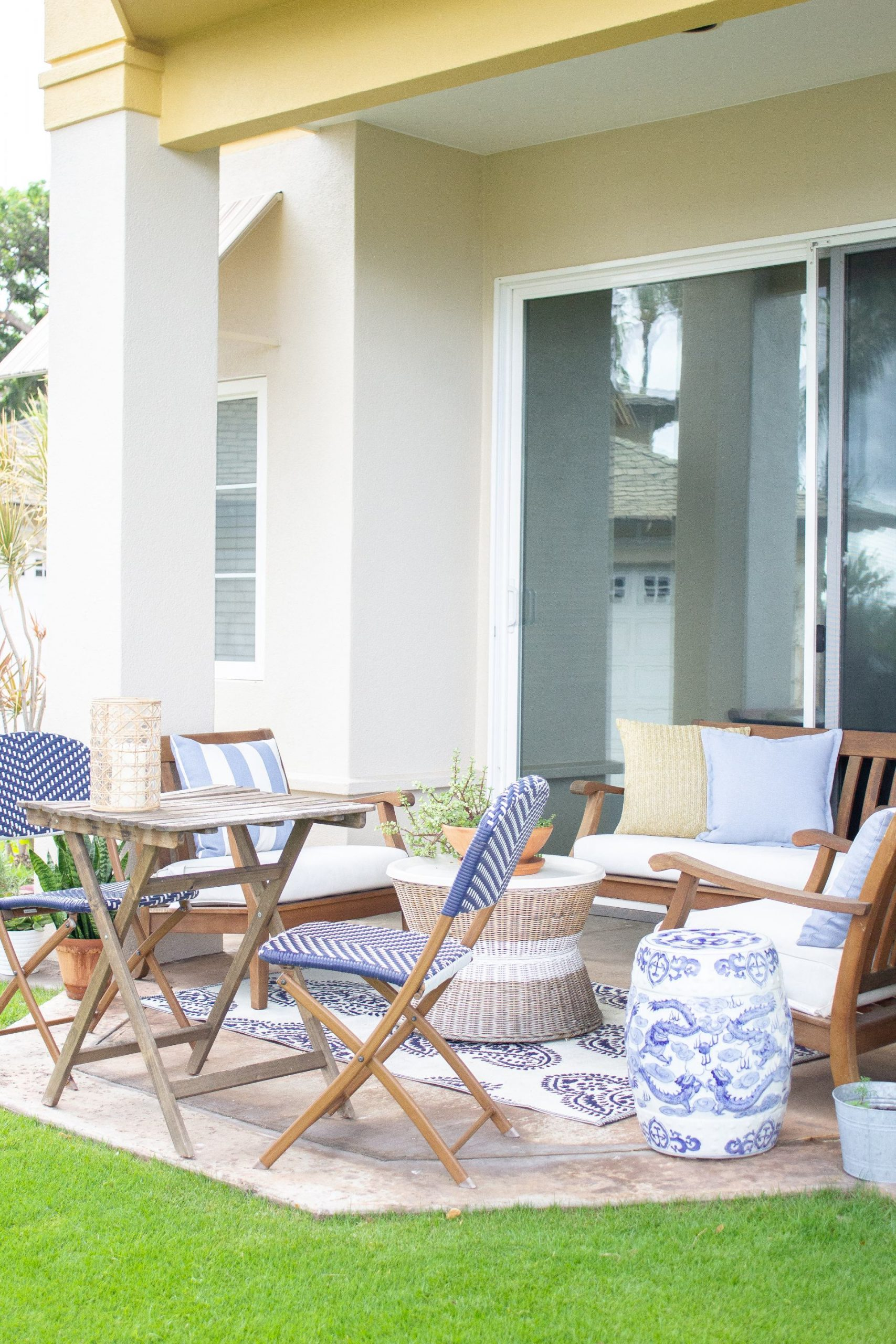 blue and white patio decor stripes