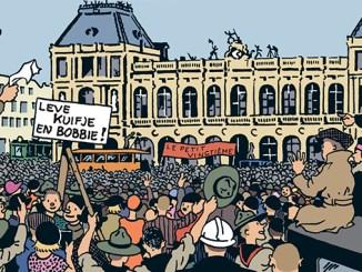 Aankomst van Kuifje en Bobbie in Brussel