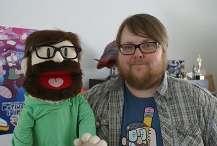 Kenny Rubenis van Dating for Geeks met zijn eigen muppet.