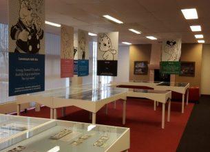 Interieur van stripmuseum Rotterdam tijdens de Toonder-tentoonstelling.