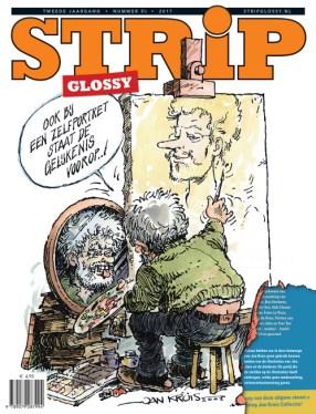 De cover van de Jan Kruis Stripglossy met uitgescheurd hoekje.