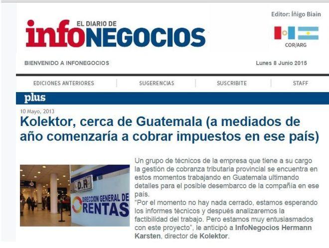 Nota de archivo de InfoNegocios (medio de Córdoba) donde adelante el negocio de Kolektor en Guatemala.